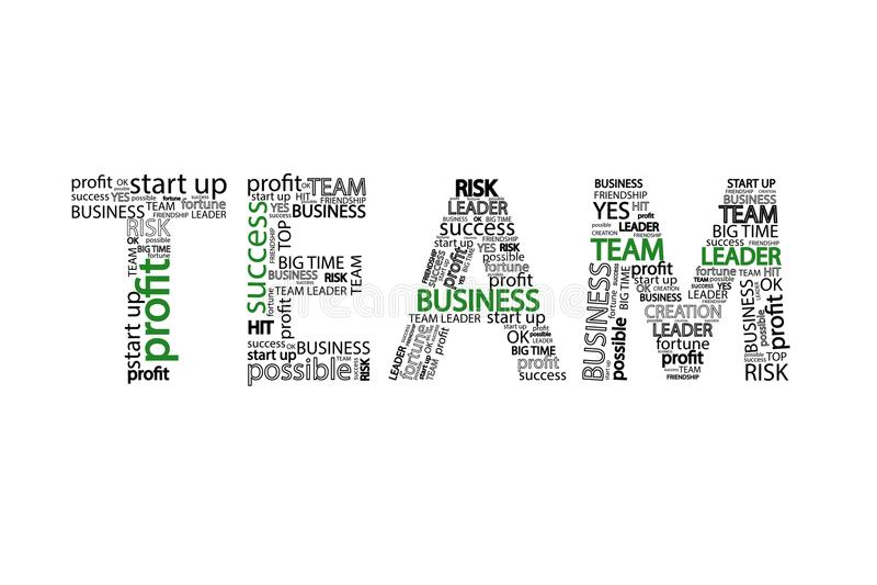 Dievan bedrijfs Team Word clouid concept, op witte achtergrond wordt geïsoleerd vector illustratie