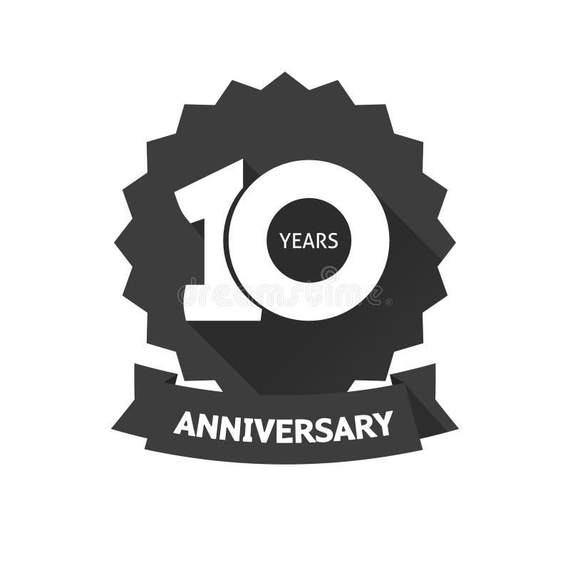 Diez años del aniversario de la etiqueta engomada de icono del vector, 10ma etiqueta del cumpleaños del año ilustración del vector