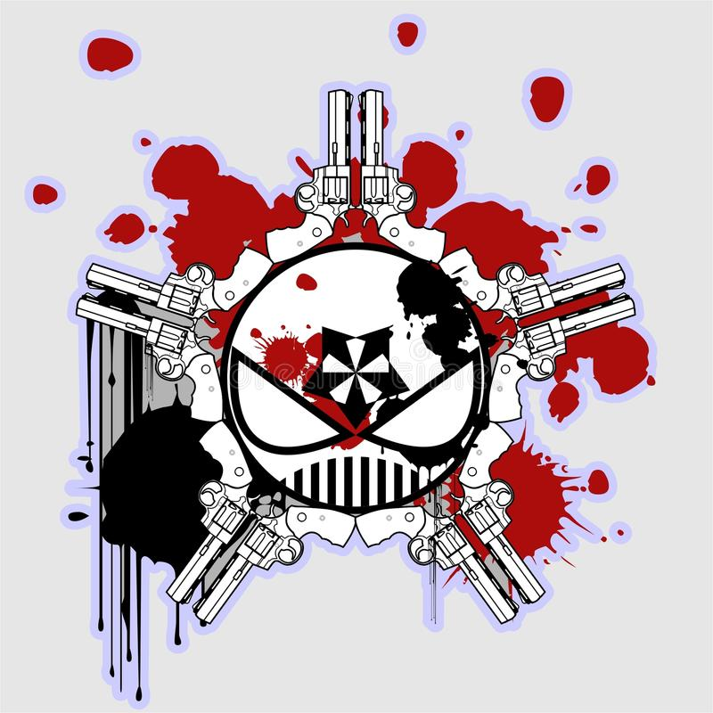 Diez armas con el cráneo enojado stock de ilustración