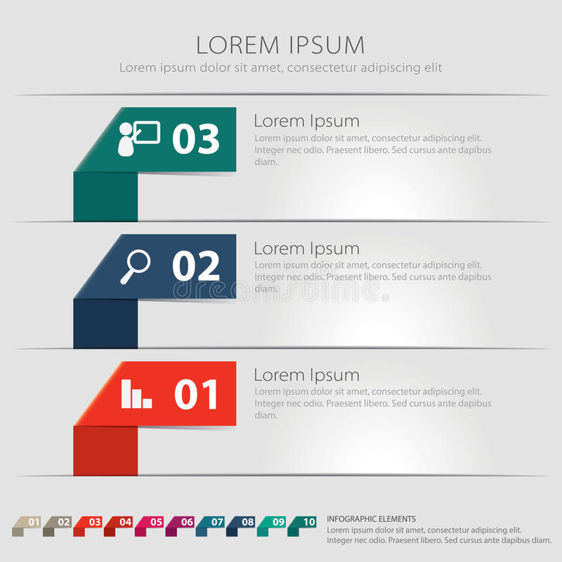 Diez elementos de Infographic de la papiroflexia imágenes de archivo libres de regalías