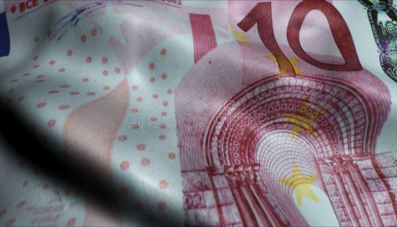 Diez euro arrugado Bill Banknote Obverse ilustración del vector
