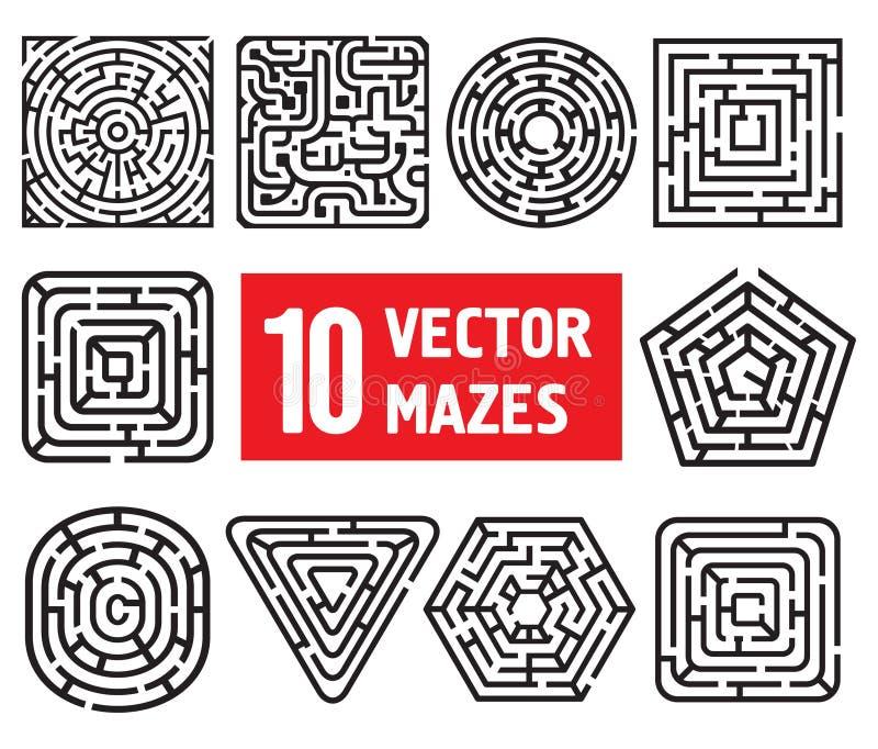 Diez laberintos del vector stock de ilustración
