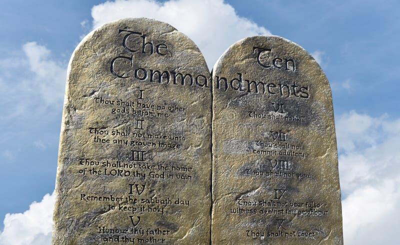 Diez mandamientos de dios de Moses y de Abraham imagenes de archivo
