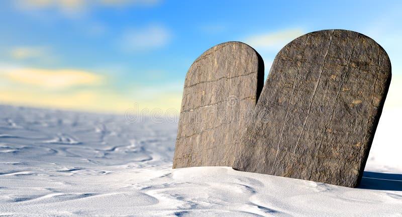 Diez mandamientos que se colocan en el desierto foto de archivo libre de regalías