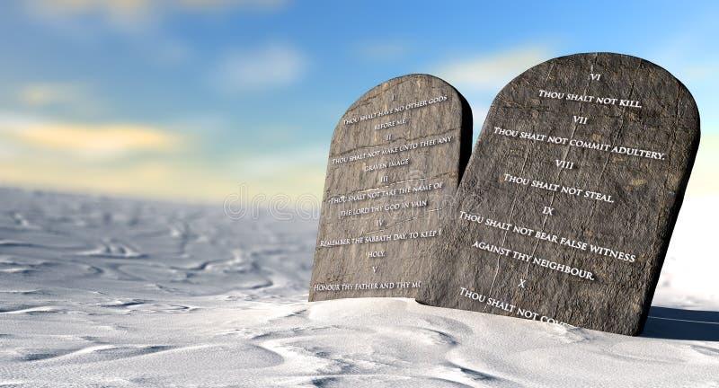 Diez mandamientos que se colocan en el desierto fotos de archivo