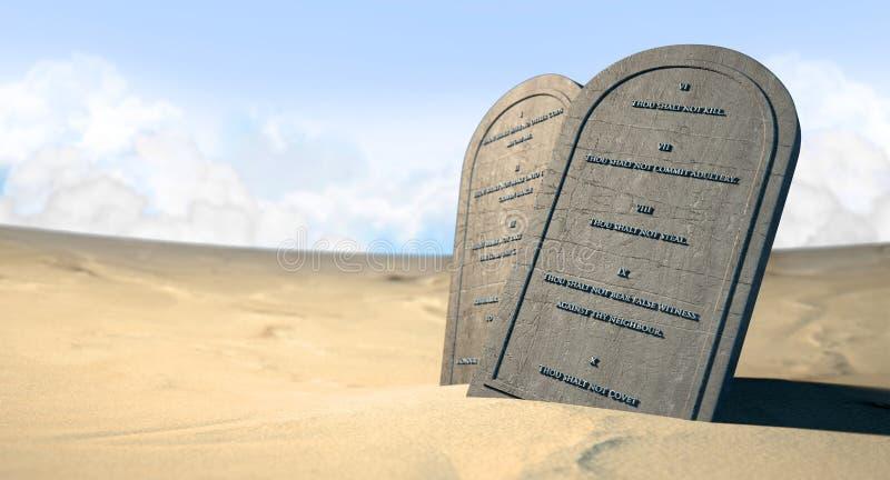 Diez mandamientos que se colocan en el desierto foto de archivo