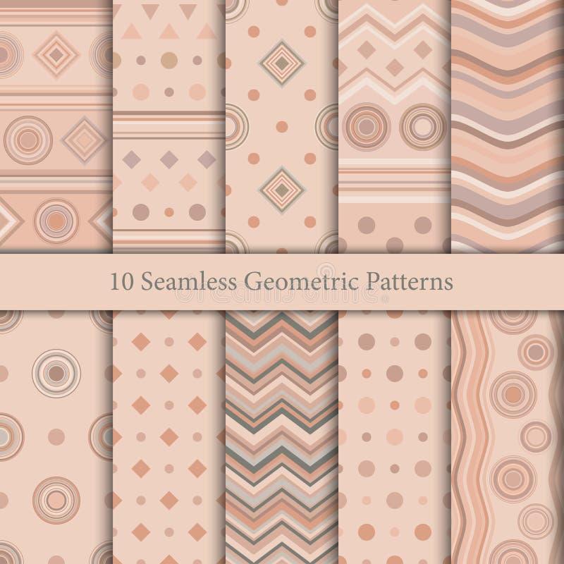 Diez modelos geométricos inconsútiles en tonalidades beige libre illustration