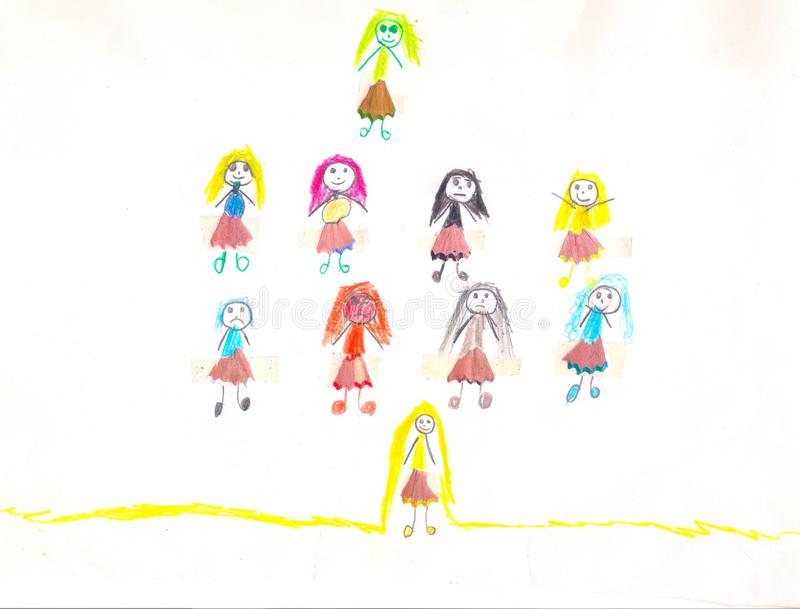 Diez muchachas con los diversos pelos y faldas, dibujo del niño stock de ilustración