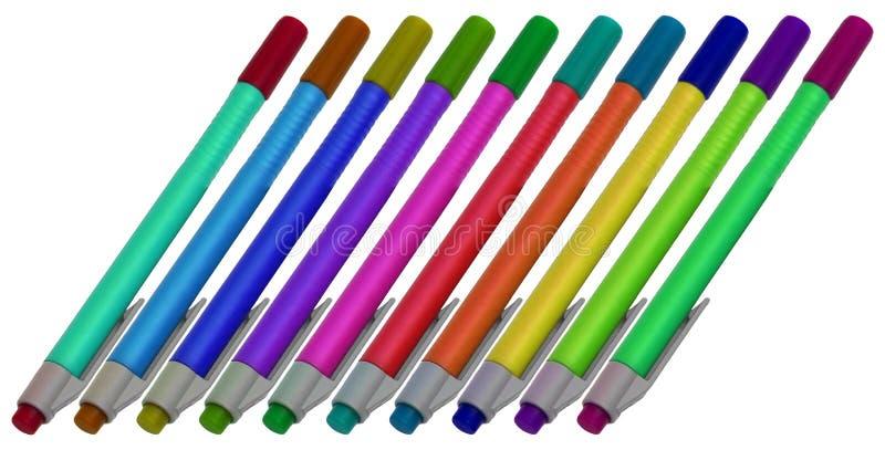 Diez plumas del color foto de archivo libre de regalías