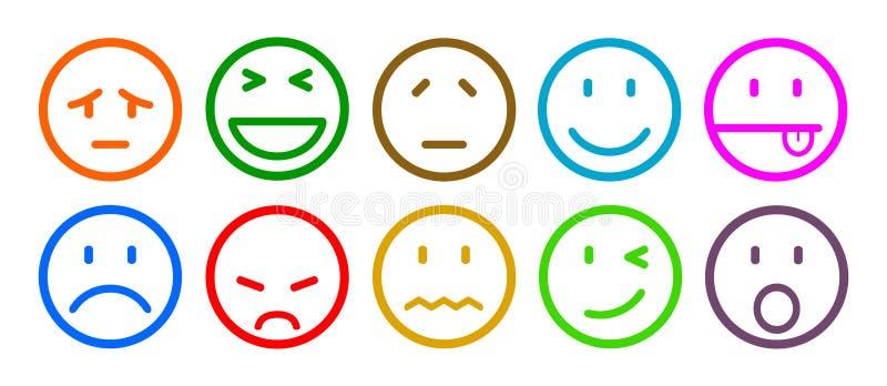 Diez smilies, fijaron la emoción sonriente, por los smilies, los emoticons de la historieta - vector libre illustration