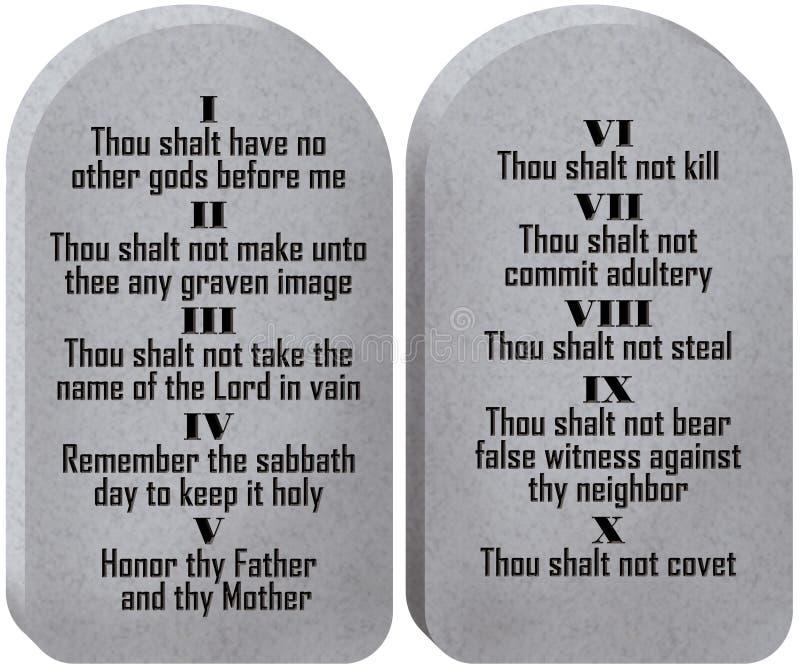 Diez tablillas de los mandamientos ilustración del vector