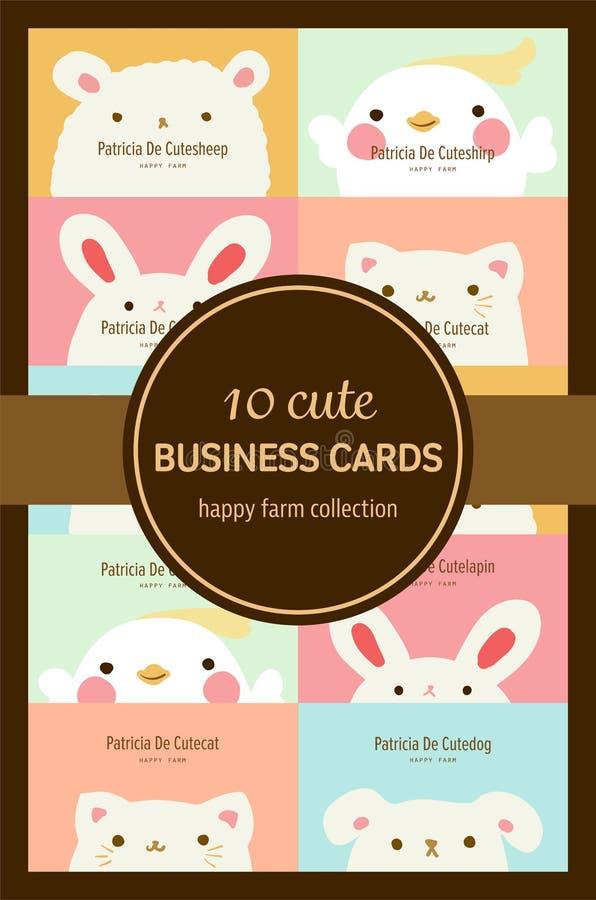 Diez tarjetas de visita animales en colores pastel lindas imagen de archivo libre de regalías