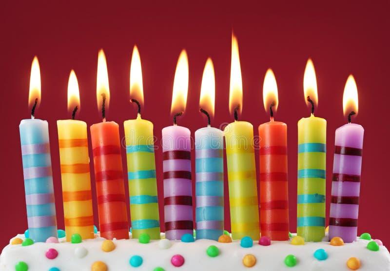 Diez velas coloridas foto de archivo libre de regalías