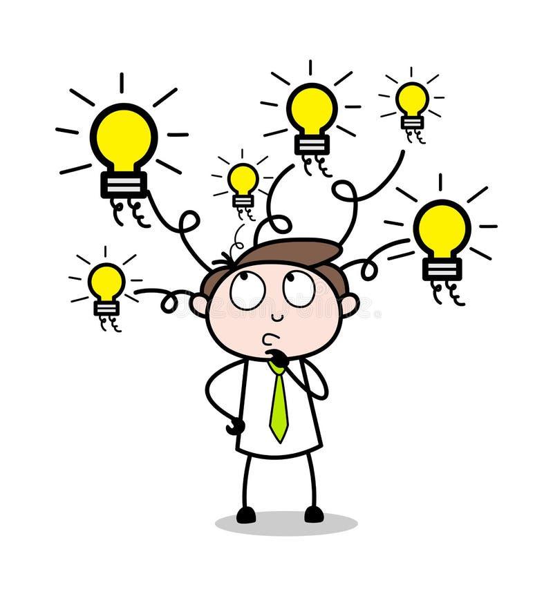 Difícil elegir la opción - ejemplo de Employee Cartoon Vector del hombre de negocios de la oficina stock de ilustración