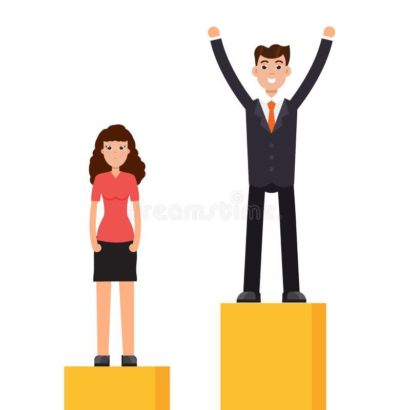 Diferença de gênero, diferença do negócio e discriminação, homens contra mulheres ilustração royalty free