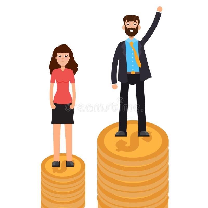 Diferença de gênero, diferença do negócio e discriminação, homens contra mulheres, conceito da desigualdade ilustração stock