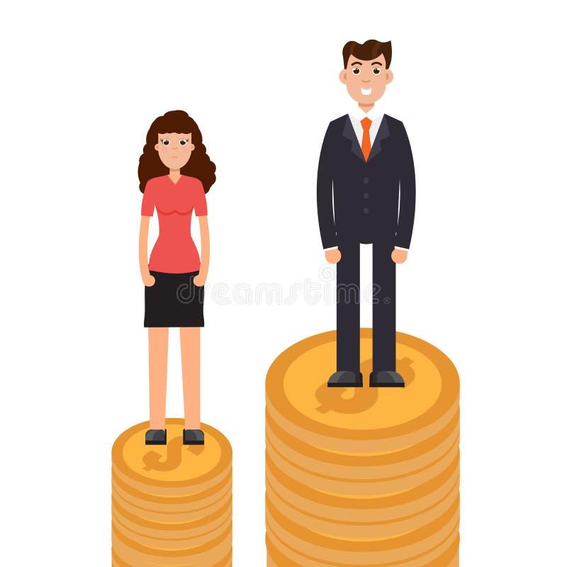Diferença de gênero, diferença do negócio e discriminação, homens contra mulheres, conceito da desigualdade ilustração do vetor