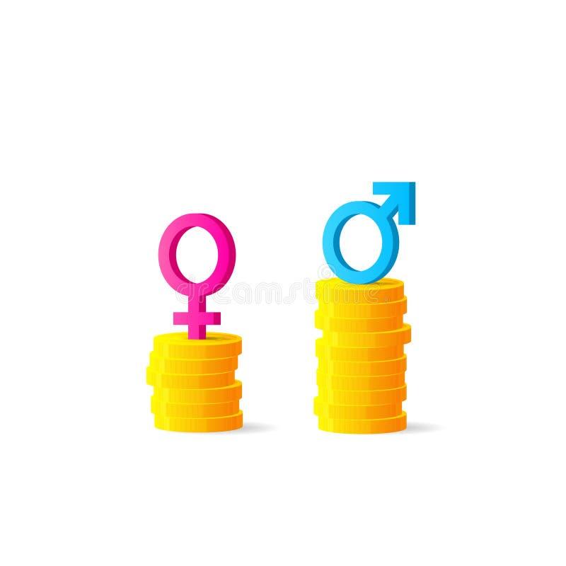 Diferença de gênero ou conceito desigual do pagamento ilustração do vetor