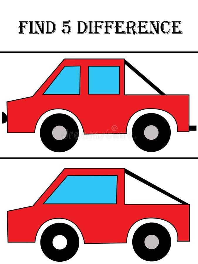 Diferença do achado cinco ilustração stock