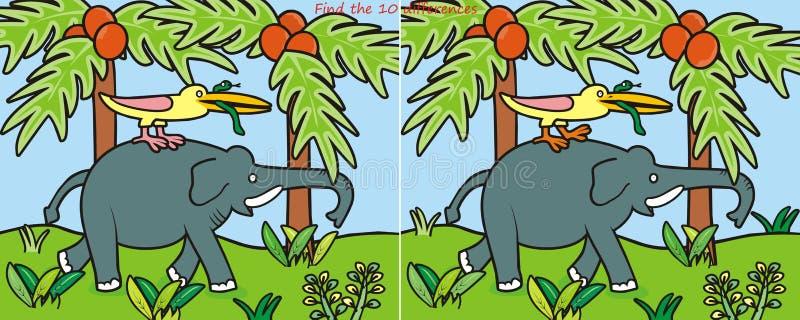 Diferença Elephant-10 ilustração do vetor