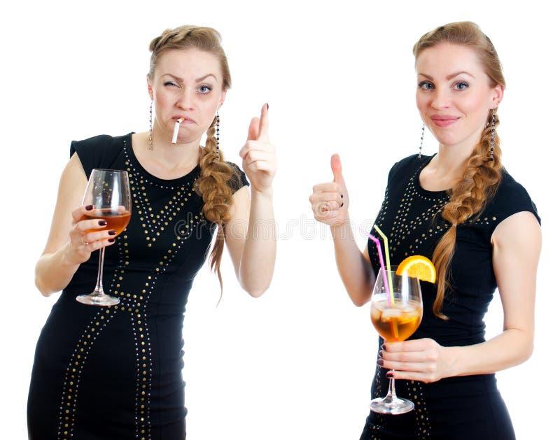 A diferença entre mulher bêbeda e moderada. fotografia de stock royalty free