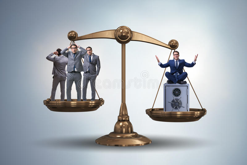A diferença entre o conceito rico e pobre dos povos ilustração royalty free