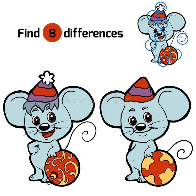 Diferenças do achado para crianças: Animais do Natal (rato) ilustração do vetor