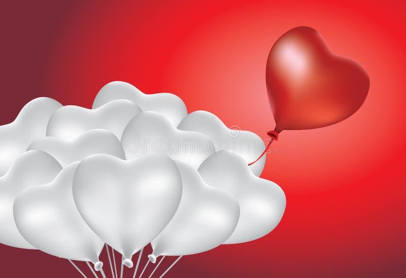Diferencia del globo de la forma del corazón del grupo libre illustration