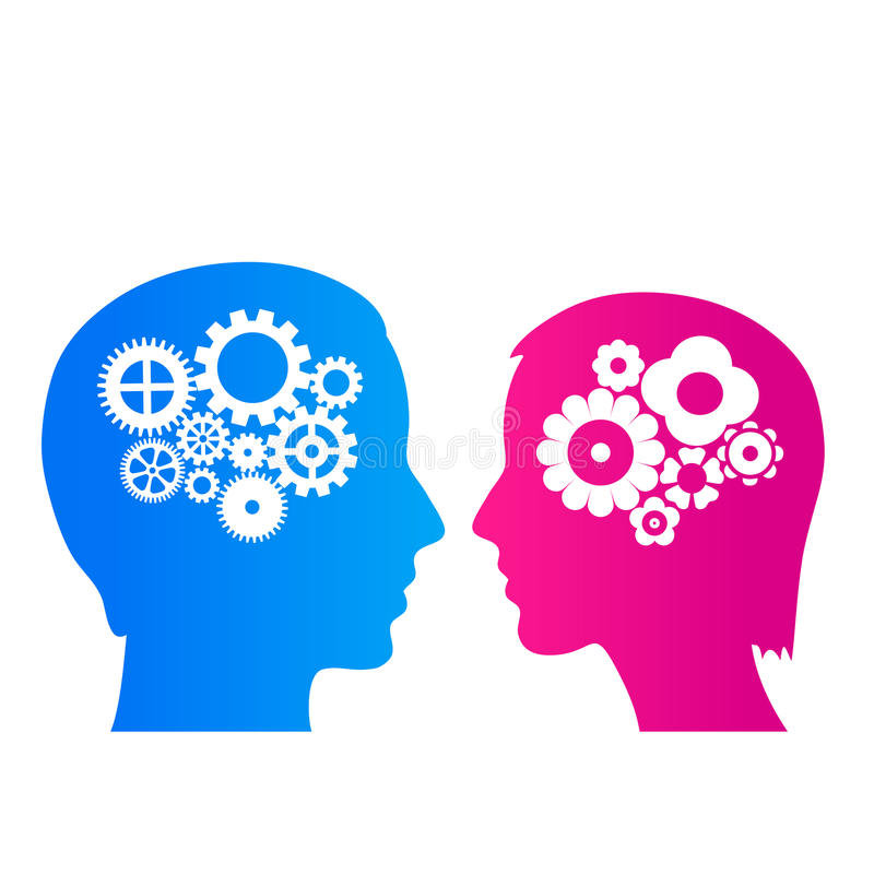 Pensamiento del hombre y de la mujer ilustración del vector