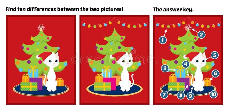 Diferencias blancas del hallazgo del gato del árbol de navidad ilustración del vector