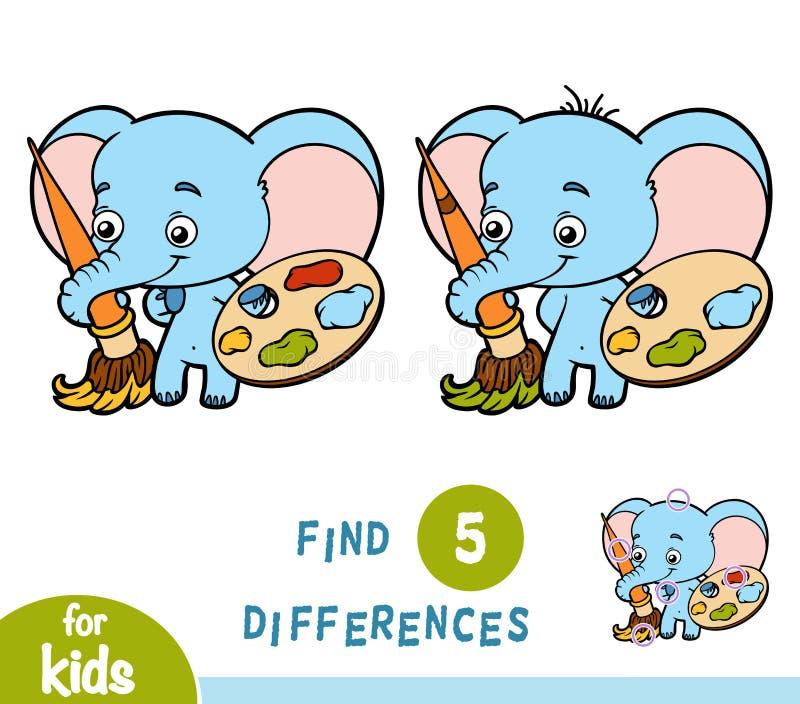 Diferencias del hallazgo, juego de la educación, elefante ilustración del vector
