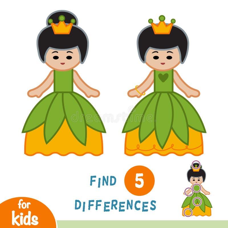 Diferencias del hallazgo, juego de la educación, princesa stock de ilustración