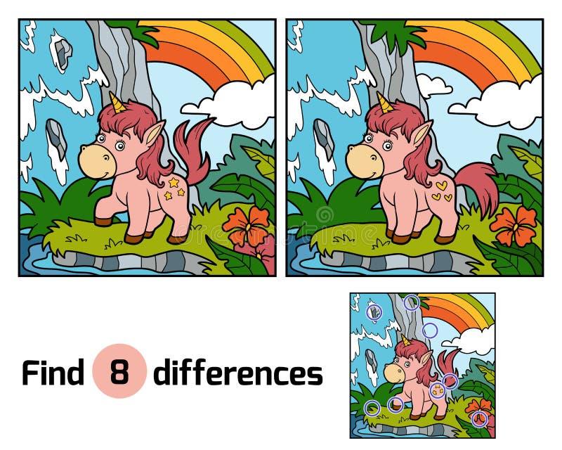 diferencias del hallazgo Unicornio de hadas y arco iris ilustración del vector