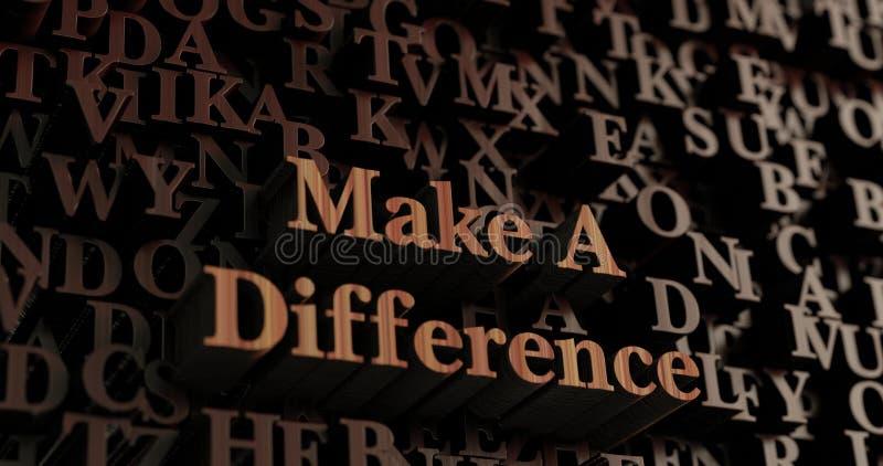 Diferencie - letras rendidas 3D de madera/mensaje ilustración del vector