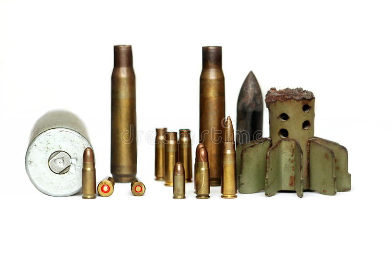 Diferent ammo. On isolated white background stock images
