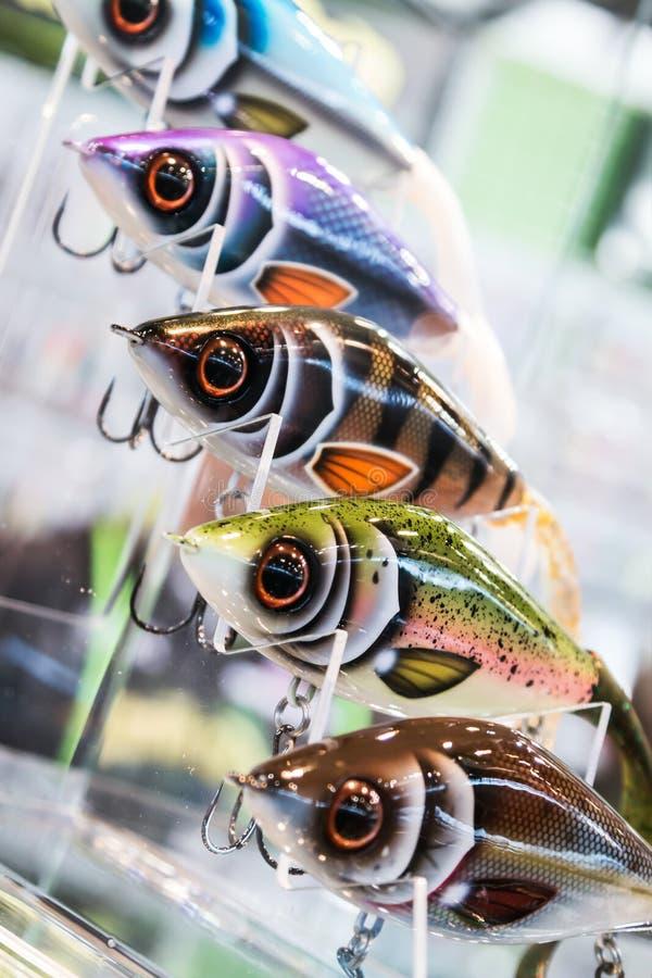 Diferente del color y tama?o que pescan se?uelos y cebos imagen de archivo libre de regalías