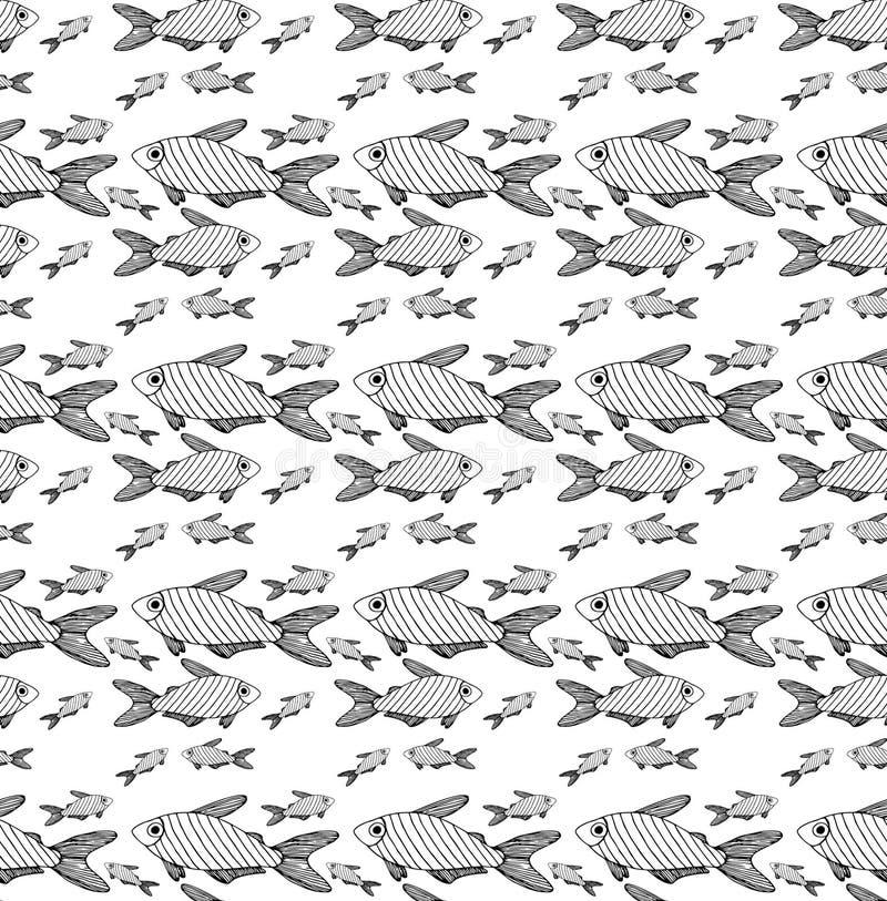 Diferente negro rayado de los pescados del modelo ilustración del vector