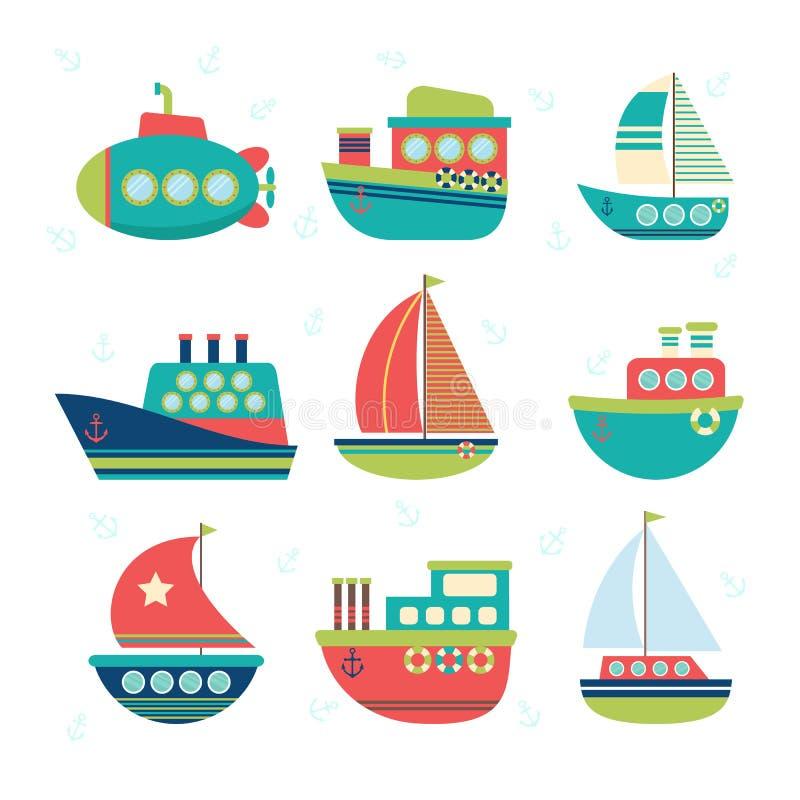 Diferente tipo de barcos Sistema de transporte de mar Barcos de pesca, ya ilustración del vector