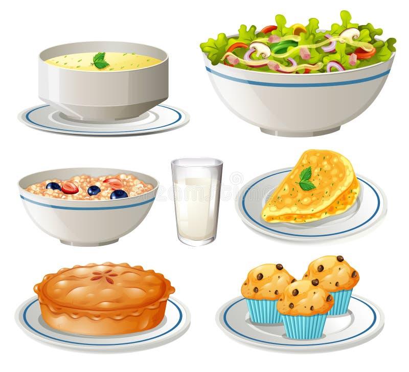 Diferente tipo de comida en las placas stock de ilustración