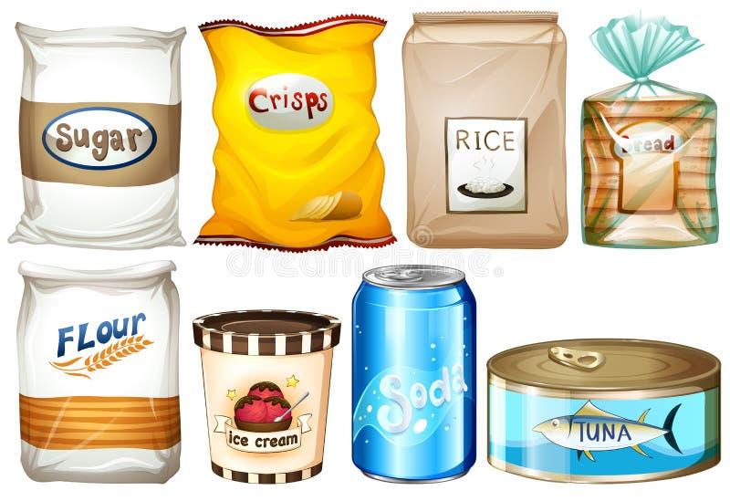 Diferente tipo de comidas stock de ilustración