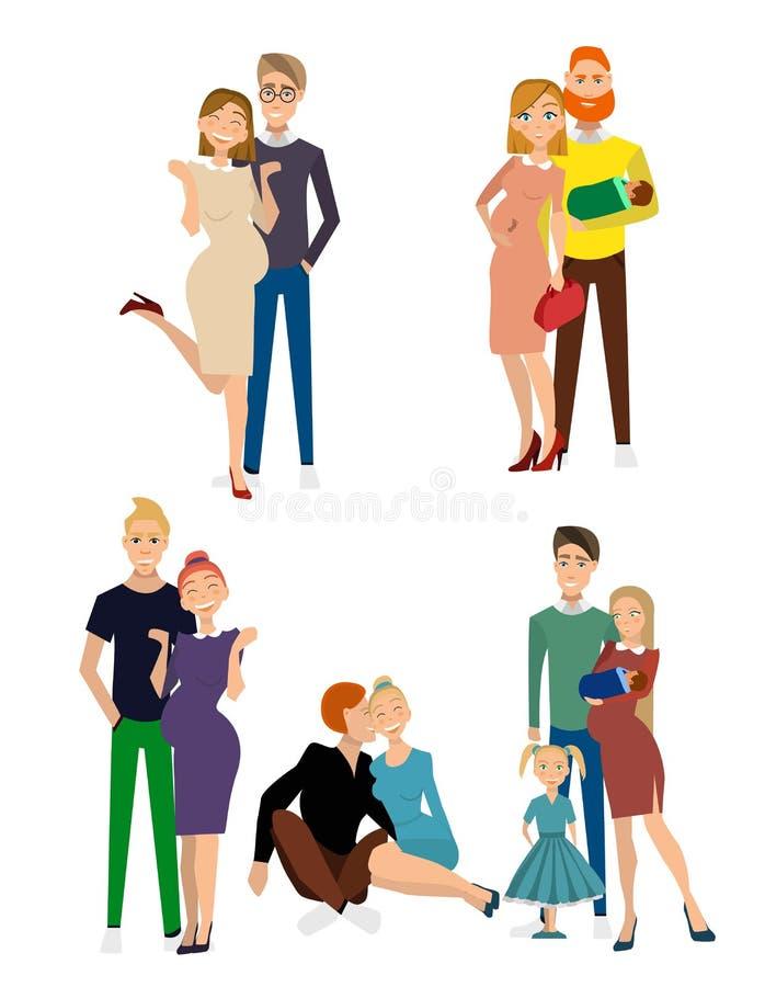 Diferente tipo de familias stock de ilustración