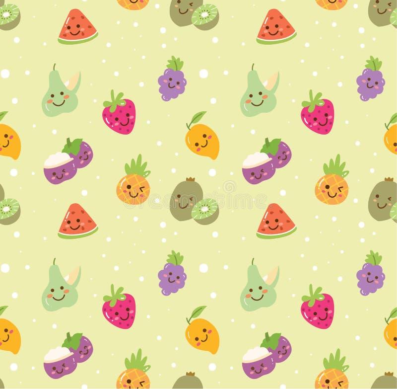 Diferente tipo de fondo inconsútil de la fruta en vector del estilo del kawaii stock de ilustración