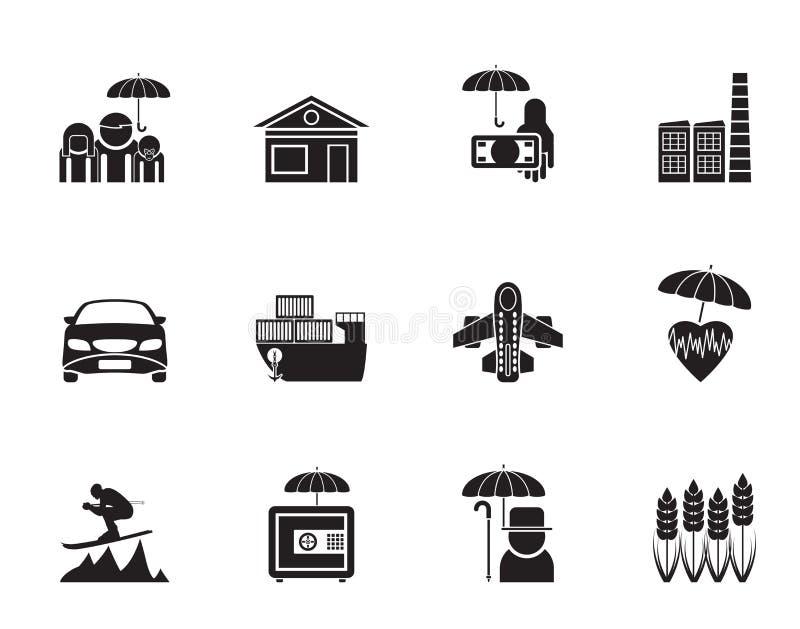 Diferente tipo de la silueta de iconos del seguro y del riesgo stock de ilustración