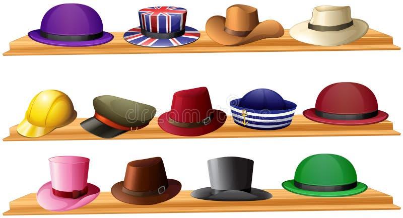 Diferente tipo de sombreros ilustración del vector