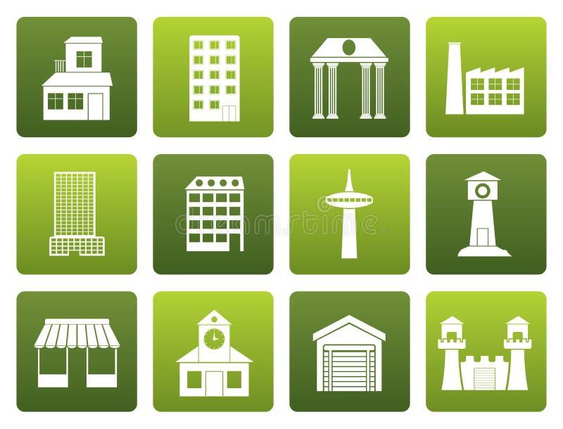 Diferente tipo plano de edificio y de iconos de la ciudad ilustración del vector