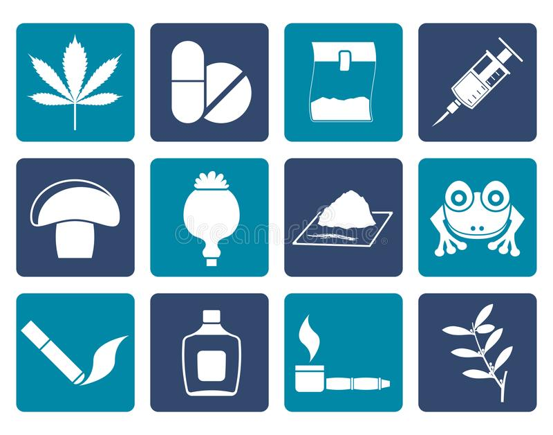 Diferente tipo plano de iconos de la droga ilustración del vector