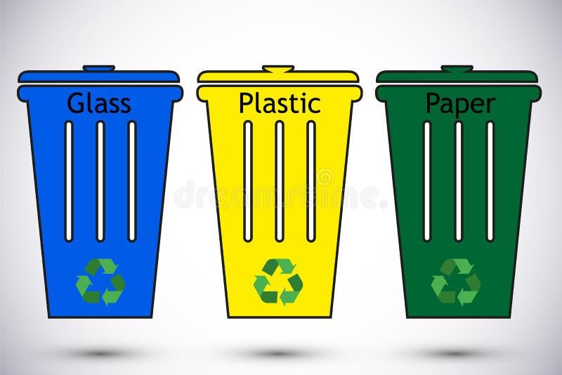 Diferentes coloridos reciclam os escaninhos waste O desperdício datilografa a segregação que recicla a ilustração do vetor Papel  ilustração royalty free