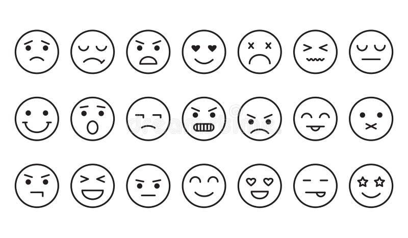 Diferentes emociones, iconos de la cara de sonrisa, diseño de contorno Vector stock de ilustración