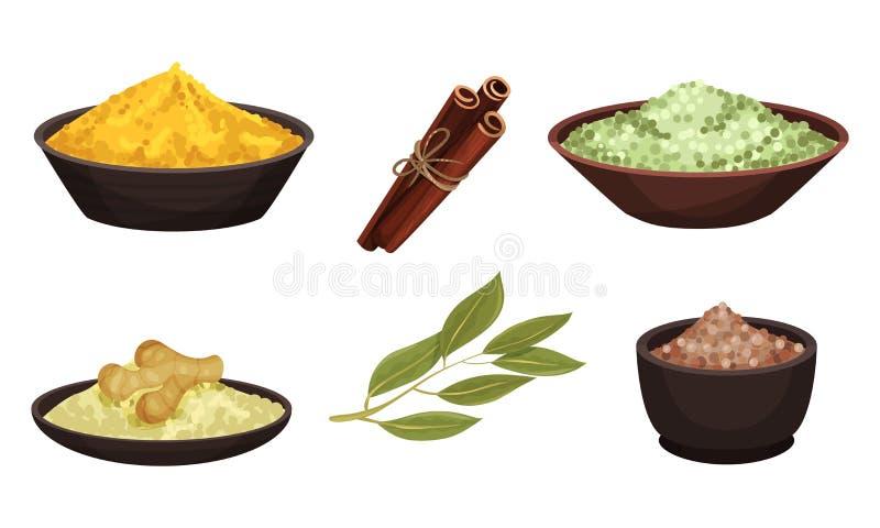 Diferentes especias y condimentos secos y pulverizados en el conjunto de vectores Bowl libre illustration