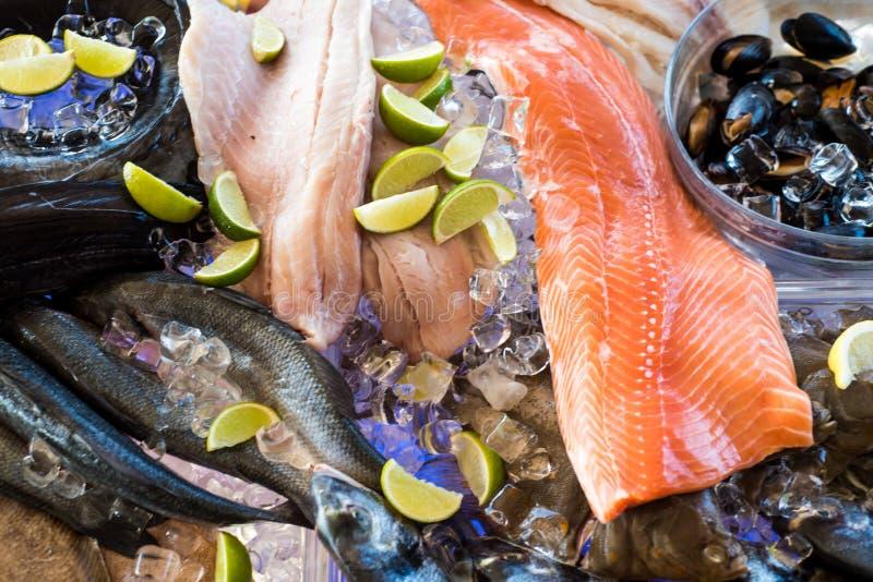 Diferentes tipos de alimentos frescos e carne de peixe no mercado de peixe fotos de stock royalty free